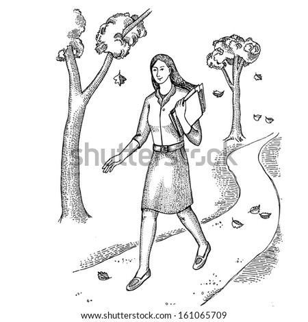 Young woman with documents goes through the park - stock vector