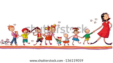 Young woman with kids playing together - stock vector