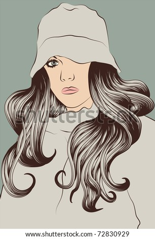 Young Woman with long hair and hat - stock vector