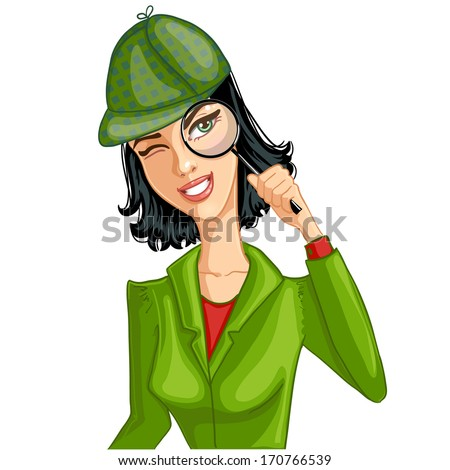 Young woman with magnifying glass, eps10 - stock vector