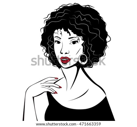 Young woman with red lips. Vector illustration.