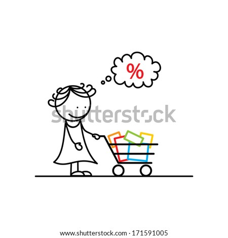 Young woman with shopping cart - stock vector