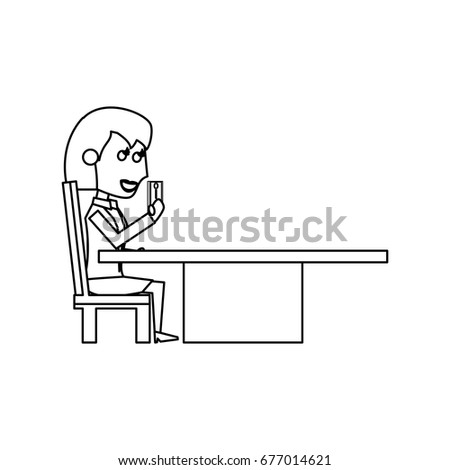 Young woman with smartphone cartoon