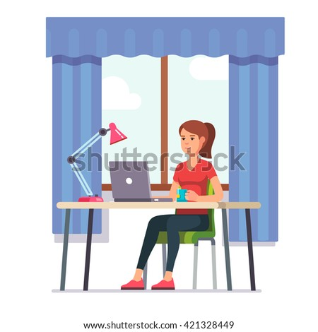 Young woman working on laptop computer at her home office working desk. Flat style color modern vector illustration. - stock vector