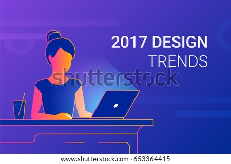 Young woman working with laptop at work desk. Modern gradient line vector illustration of designer or student interesting in 2017 design trends at workdesk. Educational background of people learning