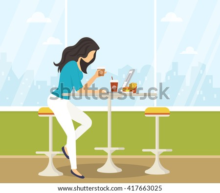 Young woman working with laptop, eating burger and drinking coffee in student cafe. Flat illustration of students lifestyle during preparing for the exams - stock vector