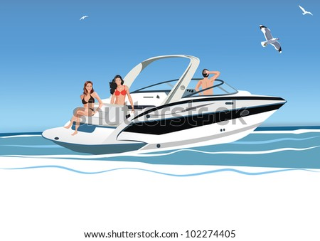 young women and a man resting on a boat, rest on the sea, vector illustration - stock vector