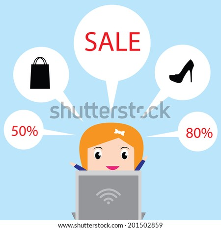 Young women are looking for products on sale in notebook computers. - stock vector