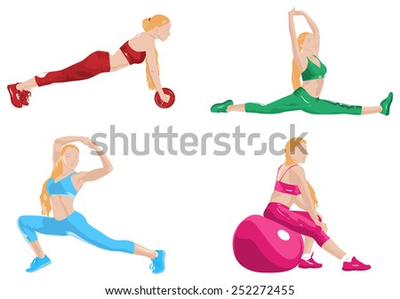 Young women fitness exercising. EPS 10 format. - stock vector