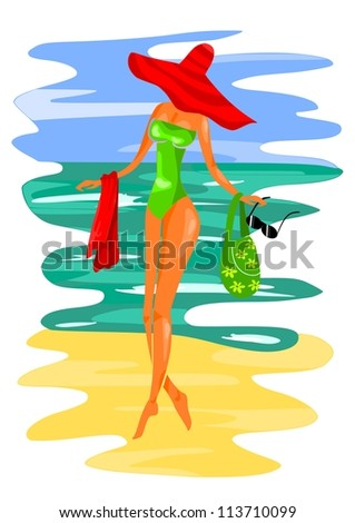 Young women on the beach - vector illustration. - stock vector