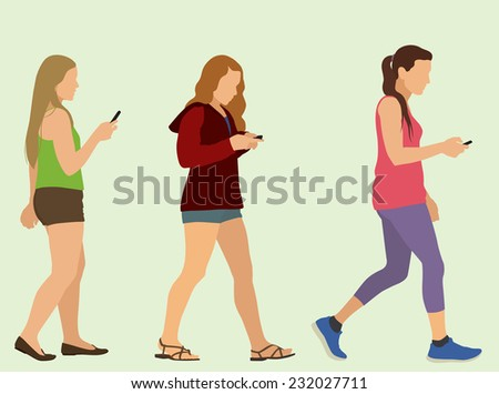 Young Women or Teenage Girls Walking and Texting - stock vector