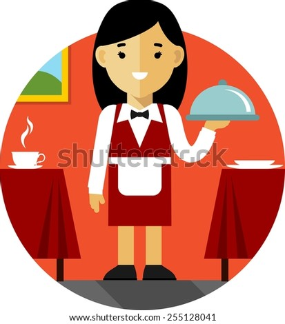 Young women waitress with tray on restaurant background in flat style - stock vector