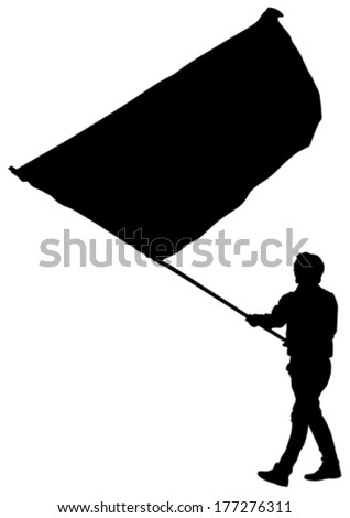 Younge man with large flag on street - stock vector