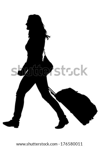 Younge women whit travel big suitcases - stock vector