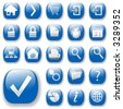 Your blue shiny web button icons are ready. - stock vector