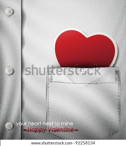 Your heart next to mine- Happy Valentine. Creative vector illustrates connection between two people. - stock vector