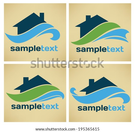 your home near water, vector collection of property symbols and icons - stock vector