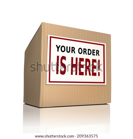 your order is here on a paper box over white background - stock vector