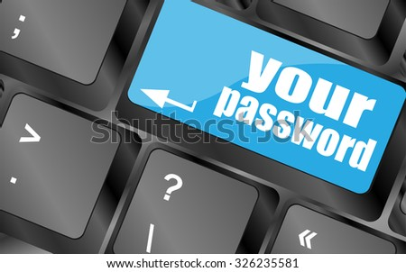 your password button on keyboard - security concept, vector illustration - stock vector