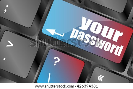 your password button on keyboard - security concept vector, keyboard keys, keyboard button - stock vector