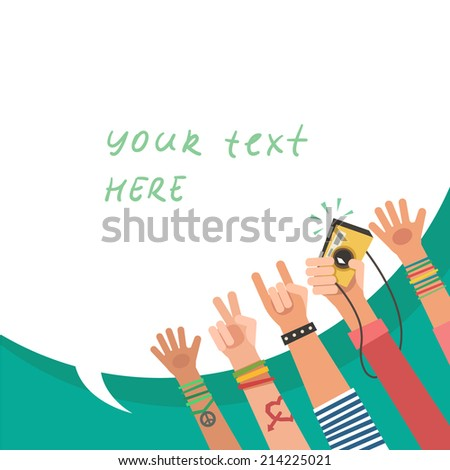 Youth crowd with bubble for text. Manifesting new generation crowd. A lot of hands of young people with different gestures. Vector illustration in flat style - stock vector