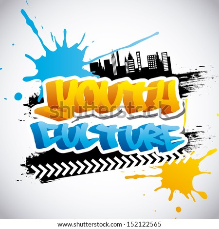 youth culture over gray background vector illustration - stock vector