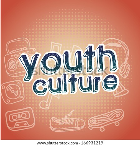 youth culture over pink   background vector illustration - stock vector