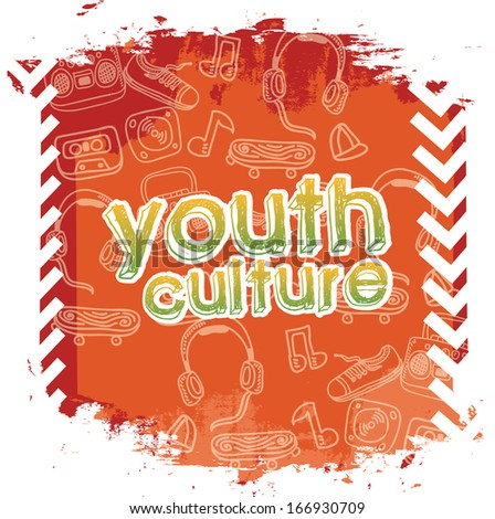 youth culture over white  background vector illustration - stock vector