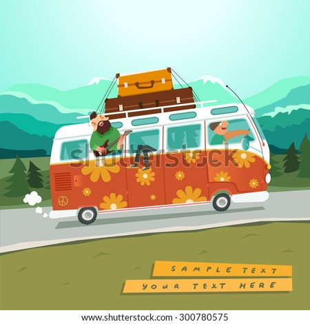 Youth traveling by a vintage camper van on country background with mountains and trees. Hippie microbus with musicians. Vector colorful illustration in flat style - stock vector