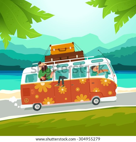 Youth traveling by a vintage camper van on summer background with ocean and palm trees. Hippie microbus with musicians. Vector colorful illustration in flat style - stock vector
