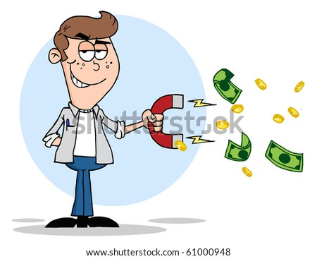 Youth Using A Magnet To Attracts Money - stock vector