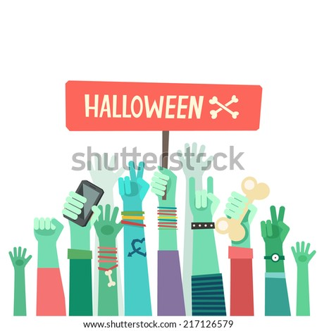 Youth zombies crowd manifesting with banner. A lot of hands of young people with different gestures. Vector illustration in flat style  - stock vector