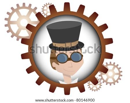 Youthful cartoon steampunk man inside gear - stock vector