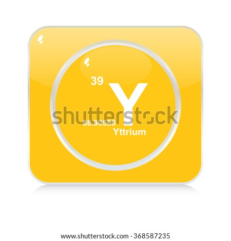 yttrium chemical element button - stock vector