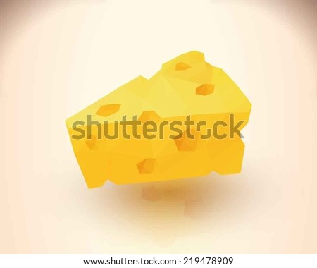Yummy cheese triangular low poly style - stock vector