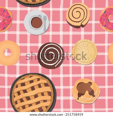 Yummy colorful chocolate cookies, donuts and cups of coffee seamless pattern. - stock vector