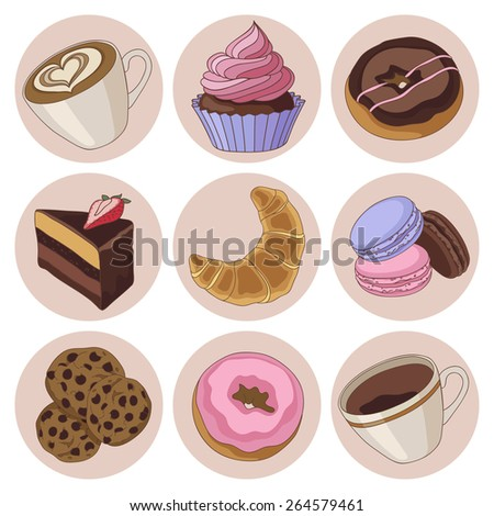 Yummy colorful chocolate cookies, donuts macaroons, croissants and cups of coffee, isolated set - stock vector