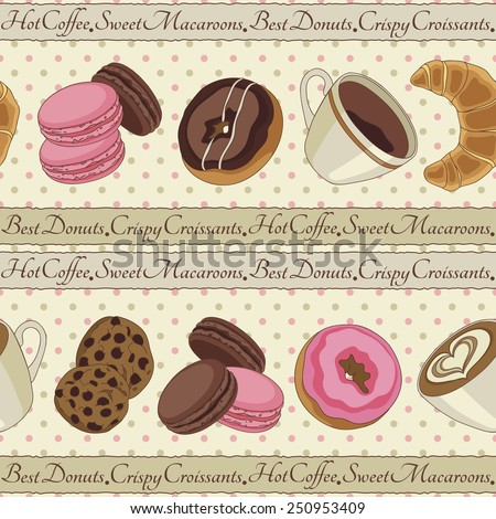 Yummy colorful chocolate cookies, donuts macaroons, croissants and cups of coffee seamless pattern, light yellow - stock vector