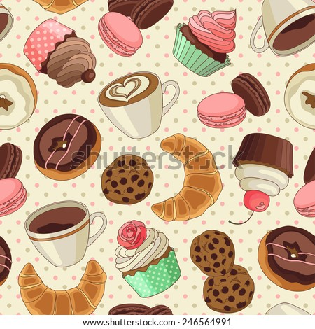 Yummy colorful chocolate cupcakes, cookies, donuts and cups of coffee seamless pattern, light yellow - stock vector