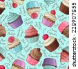 Yummy colorful cream cupcake seamless pattern, blue - stock vector
