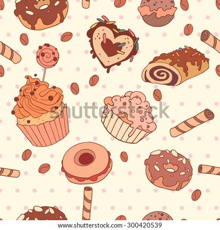 Yummy colorful sweet cake candy macaroon cupcake donut seamless pattern, in light vintage background - stock vector