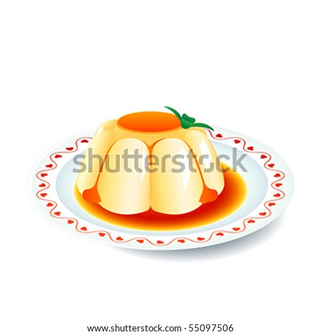 Yummy cream panna cotta dessert on plate with hearts decoration - stock vector