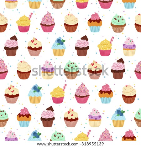 Yummy cupcakes vector seamless pattern - stock vector