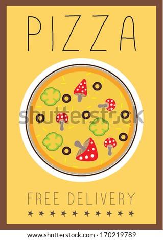 yummy pizza free delivery poster template vector/illustration / background/ greeting card