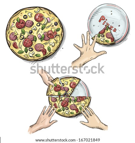 Yummy pizza, Hands holding pizza slices - stock vector