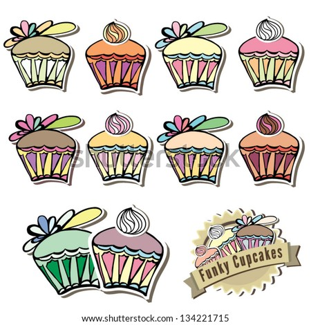 Yummy vector illustration of delicious cupcakes with logo idea - stock vector