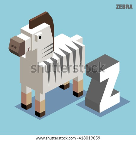 Z for Zebra. Animal Alphabet collection. vector illustration - stock vector