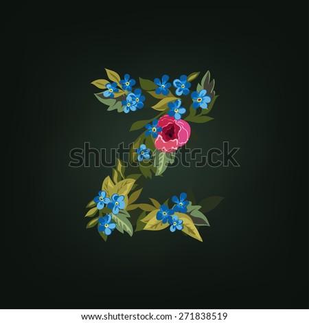 Z letter. Flower  alphabet. Colorful font. Lowercase.  Vector illustration. - stock vector