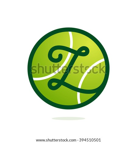 Z letter logo with tennis ball. Font style, vector design template elements for your sport team or corporate identity.