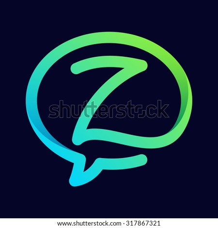 Z letter with speech bubble line logo. Abstract trendy letter multicolored vector design template elements for your application or corporate identity. - stock vector